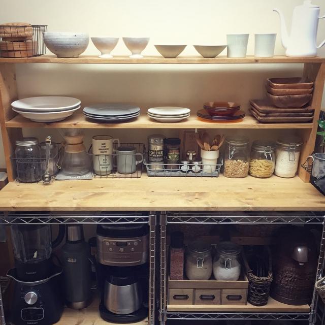 狭いキッチンを有効活用♪おしゃれスチールラック棚 by Tomoさん