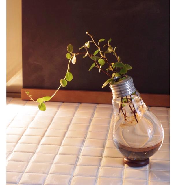 雨の日は電球で花器を作る
