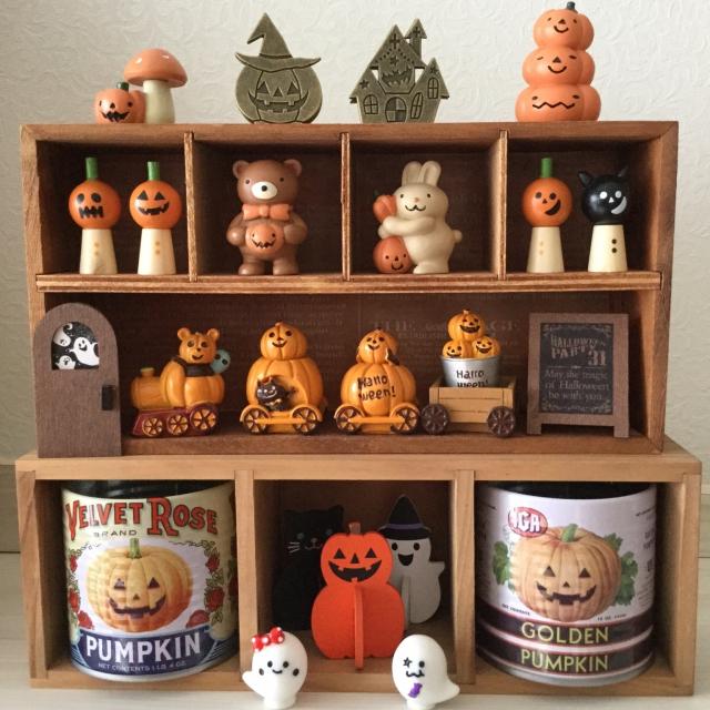 セリアハロウィン雑貨をまとめて木箱で飾る