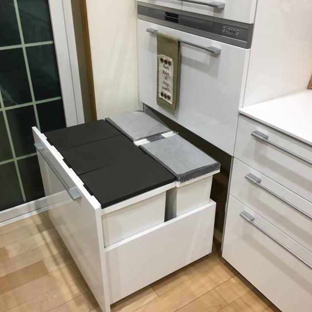 一体どこに?ゴミ箱をないかのように隠しているキッチン