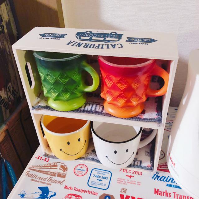 「貼り付けるだけでカフェ風♡木製マグカップ収納BOX」 by Malamaさん