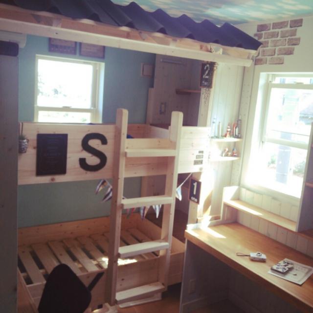 手作り2段ベッドにひと工夫