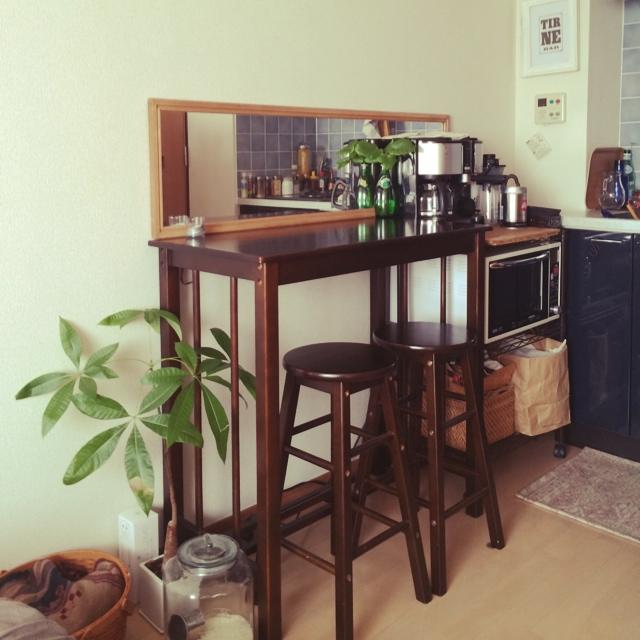 キッチン前をカフェコーナーに