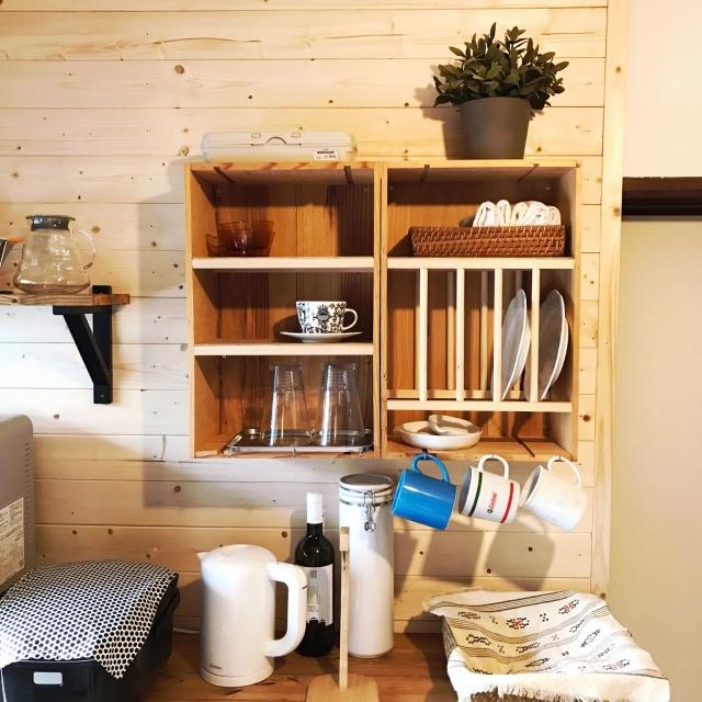 使いやすくて見た目もGood!木箱を使ったキッチン収納