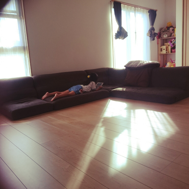 お部屋を広く見せるなら!シンプルなニトリのローソファー