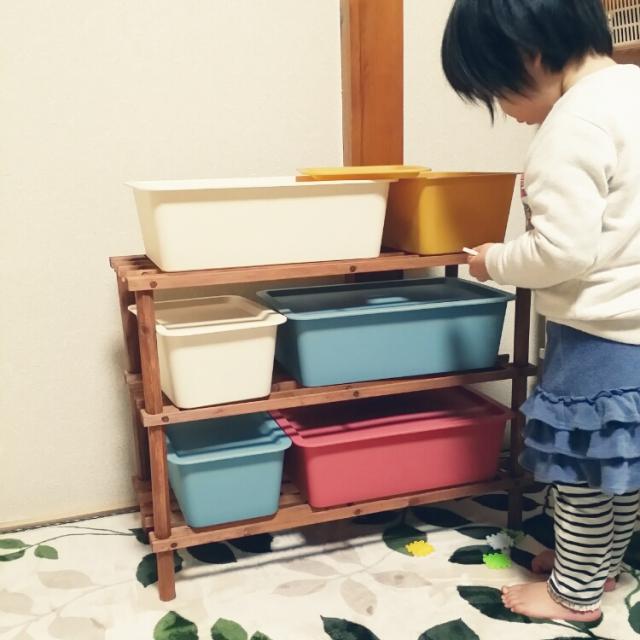 子ども思いのダイソースクエアボックス収納棚実例