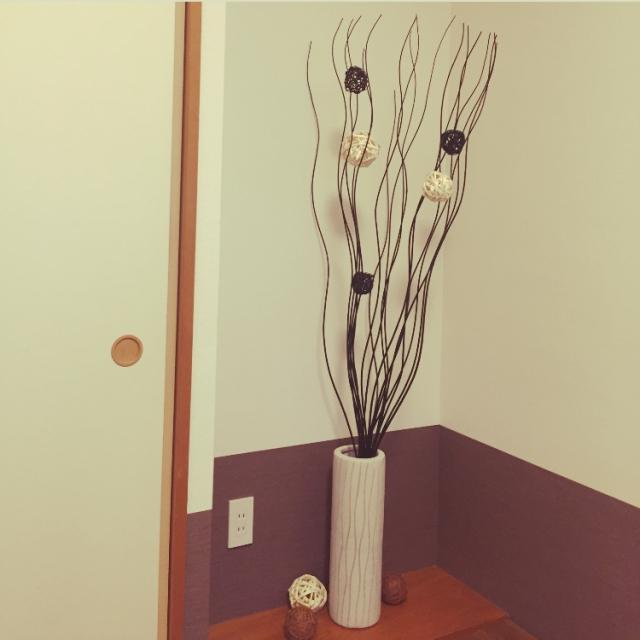 IKEAの花瓶とボウルと枝のオーナメント全部で3700円くらい