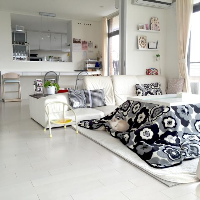 単色を基調とした部屋には大胆なデザイン