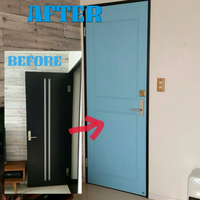 モールディングをつけた立体的なドア