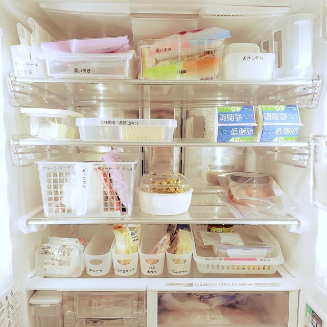 プラスチックケースを上手に活用☆冷蔵庫内をきちんと管理