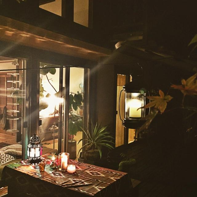 お庭で夜カフェ