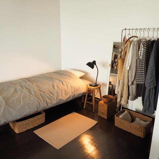 どんな部屋にも使えるシンプルさが魅力!無印良品のベッド