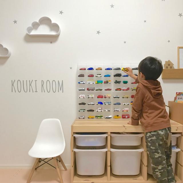 「トミカはディスプレイ収納で片付け上手◎無印良品コレクションボックス」 by risaさん
