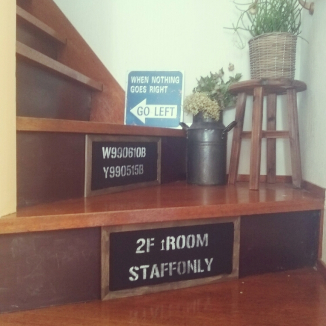 階段にコルクボードステンシルで案内板