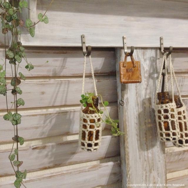 空き瓶と編み物で鉢カバー