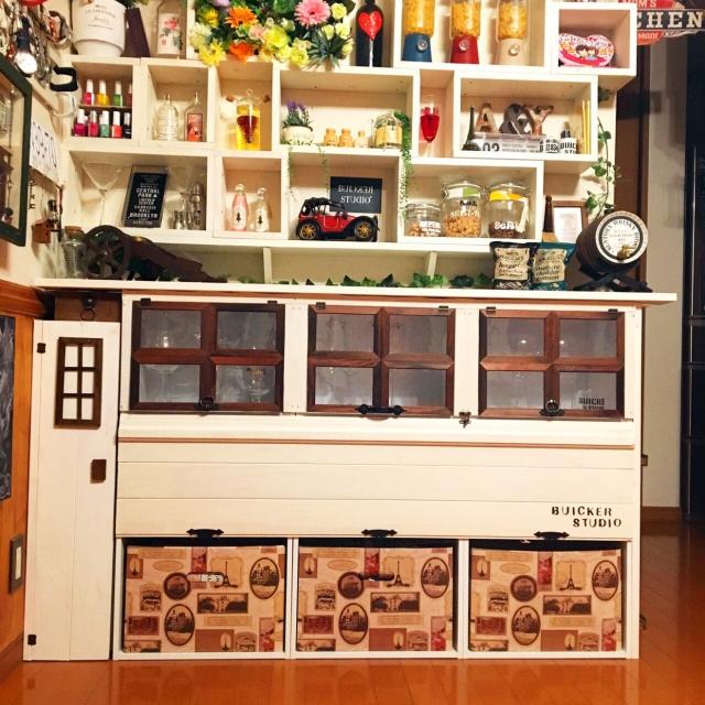 収納機能盛りだくさん♪カラボリメイク「グラスショーケース&収納棚」by BUICKERSTUDIOさん