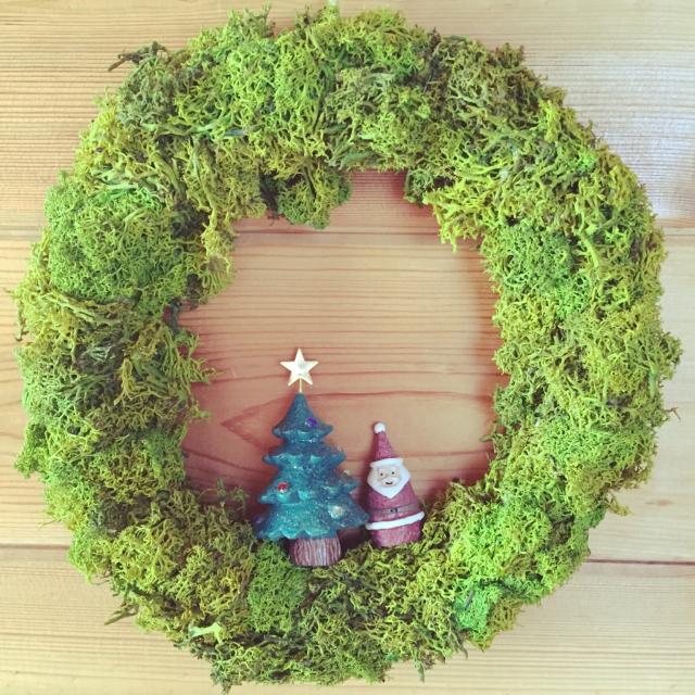 モスオンリーで作られたクリスマスリース