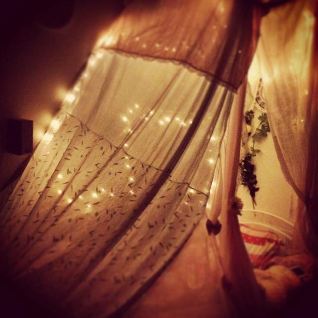 光が幻想的な夜の空間