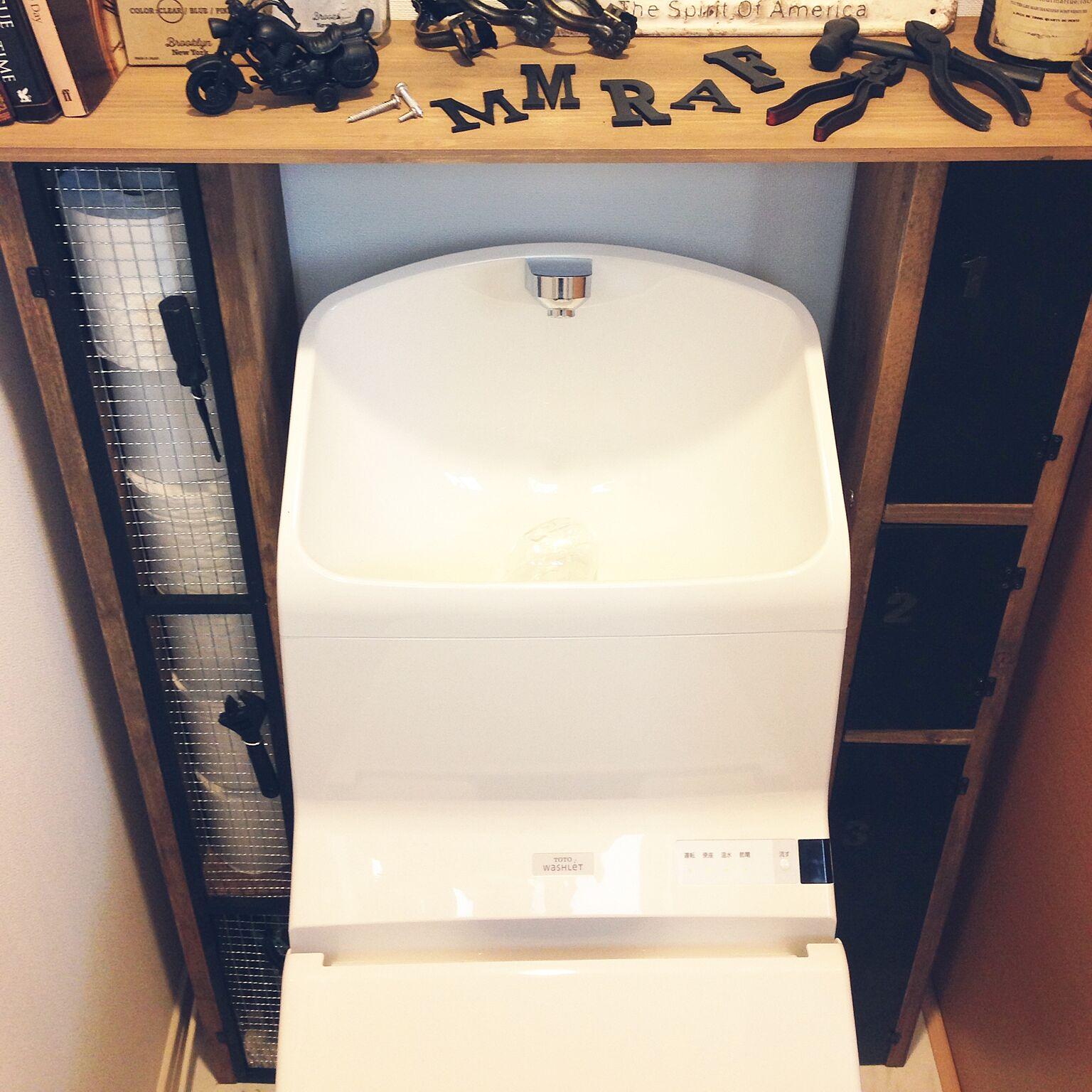 女性で、4LDKのDIY/100均/雑貨/男前に憧れます☆/トイレ収納/バス/トイレ…などについてのインテリア実例を紹介。