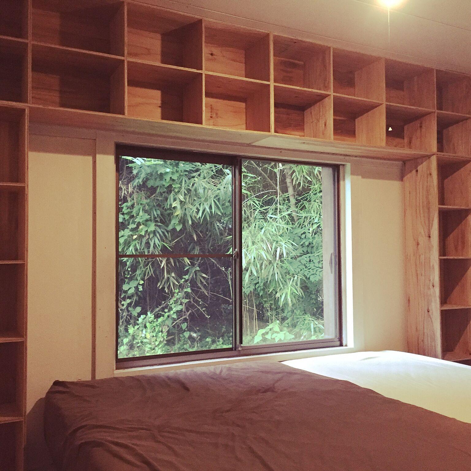 男性で、2LDKの収納/中古を買ってリノベーション/DIY/秋田杉プライウッド/寝室…などについてのインテリア実例を紹介。