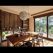 木製ブラインド/食器棚/ウッドデッキ/無垢ダイニングテーブル/ダイニングテーブル...などのインテリア実例 - 2021-05-15 06:49:57