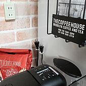 キッチン/再利用/レンガ壁紙/カフェコーナー/冷蔵庫横...などのインテリア実例 - 2021-05-18 10:57:31