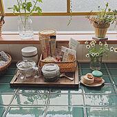キッチンカウンター/タイルDIY/カフェコーナー/かご収納/セラコアタイル...などのインテリア実例 - 2021-03-02 19:14:15