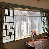 ステンドグラス/ミルクペイント ピスタチオグリーン/1×4材/窓枠DIY/コレ、DIYしたよ!...などのインテリア実例 - 2021-05-18 16:29:11