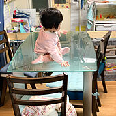 娘が来る/ダイニングテーブルの上/ダイニングテーブル/赤ちゃんのいる暮らし/1歳長女...などのインテリア実例 - 2021-01-28 13:52:51