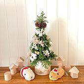 クリスマスディスプレイ/フラワーアレンジメント/ミニクリスマスツリー 手作り/ミニクリスマスツリー/積木...などのインテリア実例 - 2020-11-24 21:54:41
