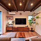壁掛けTV/無垢材の家具/GREENのある暮らし/インダストリアルインテリア/リビングのインテリア実例 - 2021-03-02 15:42:20