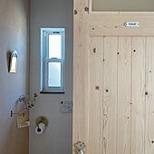 トイレのドア/木製ドア/真鍮トイレットペーパーホルダー/真鍮ミラー/ナチュラルインテリア...などのインテリア実例 - 2021-04-27 08:22:53