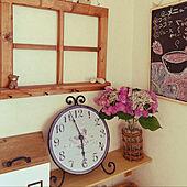 紫陽花柄のアイアン時計/花びん/ナチュラルが好き♡/子供のいる暮らし/いつもいいねやコメント感謝です♩...などのインテリア実例 - 2021-06-19 06:41:52
