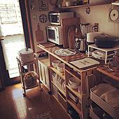 白い家電/かご収納/カフェ風インテリア/カフェ風キッチン/食器棚DIY...などのインテリア実例 - 2021-07-30 18:57:40