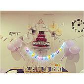 ウォールクロック/白壁/ライトアップ/誕生日飾り付け/子どもの誕生日...などのインテリア実例 - 2021-02-18 21:18:32