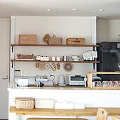 キッチン/ナチュラルインテリア/白×茶/ポットマット/ディアウォール DIY...などのインテリア実例 - 2020-07-14 15:47:55
