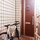 玄関扉飾り/リース/自転車/バイク/ドライフラワー...などのインテリア実例 - 2020-09-25 21:03:11