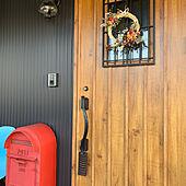 ガルバ/玄関ライト/赤いポスト/お飾り/手作り...などのインテリア実例 - 2019-12-31 22:27:10