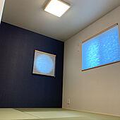 和室に丸窓/丸窓/アクセントクロスネイビー/和風シーリングライト/障子風スクリーン...などのインテリア実例 - 2020-04-05 14:11:09