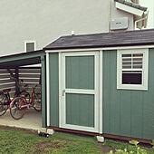 モスグリーン/DIY/自転車置き場/自転車置き場DIY/物置小屋...などのインテリア実例 - 2020-08-08 16:55:26