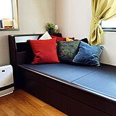 引き出し収納ベッド/畳ベッド/ニトリクッションカバー/IKEAクッションカバー/ニトリ...などのインテリア実例 - 2021-02-22 10:36:53
