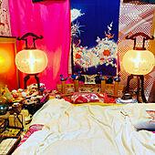 枕カバー/ぼんぼり 照明/ぼんぼり/お膳/和服...などのインテリア実例 - 2021-07-24 17:33:04