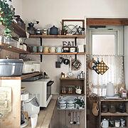 家電/キッチン雑貨/カフェ風キッチン/板壁/見せる収納/DIY…などのインテリア実例