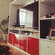 観葉植物/IKEA/あか/テレビボード/TSUM TSUM/ディズニー…などのインテリア実例