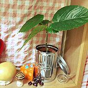 ブリキのコーヒー缶のインテリア実例写真