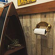 アンティーク風/団地/100均/ヴィンテージ雑貨/トイレの壁/セリア…などのインテリア実例