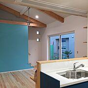 水色の壁紙/ブルー/外構未完成/新築/2人暮らし/注文住宅…などのインテリア実例
