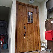 玄関ドア/DIY/こどもと暮らす。/中古を買ってリノベーション/Entrance…などのインテリア実例