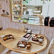 ダイニング/おうちごはん/晩御飯/晩ご飯/カフェコーナー/キッチンカウンター…などのインテリア実例