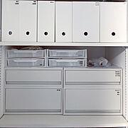ファイルボックス/ニトリ/収納/子供と暮らす/モノトーン好き/ホワイト好き…などのインテリア実例